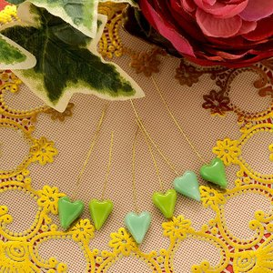 ビーズキット とんぼ玉 ワイヤー付ハート「honet」 6本セット(緑)|beadsmania-shop