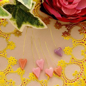 ビーズキット とんぼ玉 ワイヤー付ハート「honet」 6本セット(ピンク)|beadsmania-shop