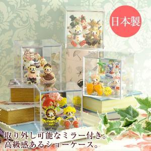 人形ケース プラスチックケース コレクションキューブ Lサイズ ミラー付き(4個セット)|beadsmania-shop