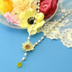 ビーズ キット レシピ Flowerブローチ&ネックレス イエロー×ホワイト|beadsmania-shop