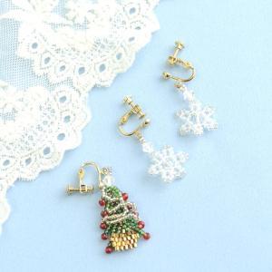 ビーズ キット レシピ クリスマスツリーイヤリング&スノークリスタルイヤリングセット|beadsmania-shop