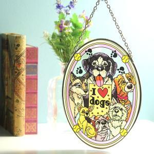 ステンドグラス サンキャッチャー 壁掛け I Love Dogs|beadsmania-shop