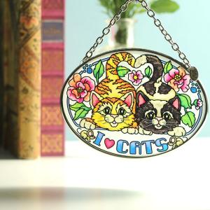 ステンドグラス サンキャッチャー 壁掛け I Love Cats|beadsmania-shop