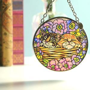ステンドグラス サンキャッチャー 壁掛け Flower Basket Rest|beadsmania-shop