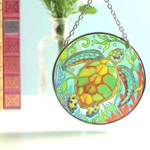 ステンドグラス サンキャッチャー 壁掛け Sea Life Turtle|beadsmania-shop