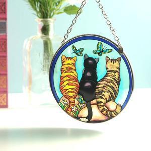 ステンドグラス サンキャッチャー 壁掛け Cats & Company|beadsmania-shop