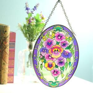 ステンドグラス サンキャッチャー 壁掛け Purple Pansies|beadsmania-shop