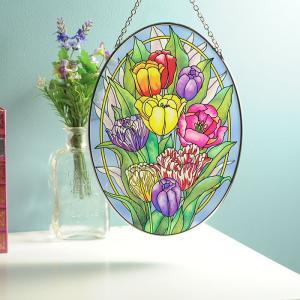 ステンドグラス サンキャッチャー 壁掛け Tulip Tempo|beadsmania-shop