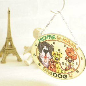 ステンドグラス サンキャッチャー 壁掛け Home is Where the Dog is|beadsmania-shop