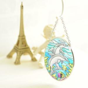 ステンドグラス サンキャッチャー 壁掛け Dolphin Reef|beadsmania-shop