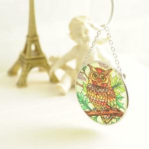 ステンドグラス サンキャッチャー 壁掛け Great Horned Earth Owl|beadsmania-shop