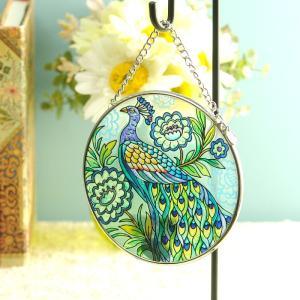 ステンドグラス サンキャッチャー 壁掛け True colors peacock|beadsmania-shop