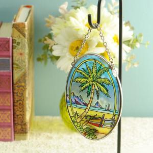 ステンドグラス サンキャッチャー 壁掛け Tropical Palm|beadsmania-shop