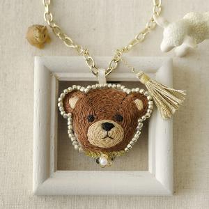 刺繍キット 刺しゅう テディベアのバッグチャーム&ブローチ〜ブラウン〜|beadsmania-shop
