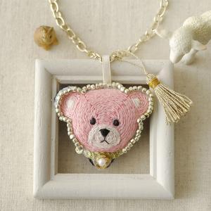 刺繍キット 刺しゅう テディベアのバッグチャーム&ブローチ〜ピンク〜|beadsmania-shop
