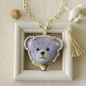刺繍キット 刺しゅう テディベアのバッグチャーム&ブローチ〜パープル〜|beadsmania-shop