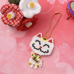 ビーズ キット 和風 日本 JAPAN ビーズファクトリー ゆれる福々チャーム 縁起物キット〜招き猫〜|beadsmania-shop