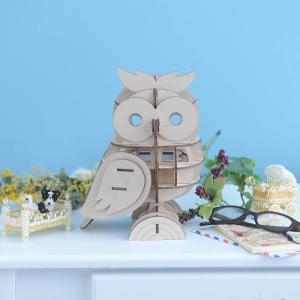 クラフト キット ハンドメイド 手作り  Wooden Art ki-gu-mi Living フクロウ テーブルランプ|beadsmania-shop
