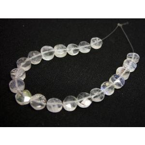 ホワイトラブラドライト コイン6mm|beadsshopj4