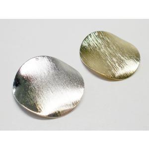 真鍮メタルプレートパーツ ゆがみウェーブ 30mm(1ヶ穴)  (4ヶ) beadsshopj4