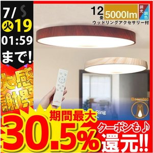 LEDシーリングライト LED シーリングライト 12畳用 連続調光 調色 5,800lm 天井 照明 器具 CL-YD12CD-RING 5年製品保証 IRODORI PLUM|beamtec