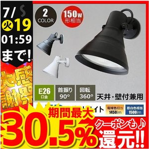 LEDビーム球付き スポットライト 屋外 屋内兼用 防雨形 天井付・壁付・兼用 E26FLPAR38K-WP-LDR17 黒 E26FLPAR38W-WP-LDR17 白|beamtec