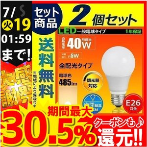 2個セット 送料無料 LED電球 E26 調光器対応 40W相当 全配光タイプ  電球色  一般電球 led照明 ライト LED照明 LDA5LD-C40--2 IRODORI PLUM【Beamtec】