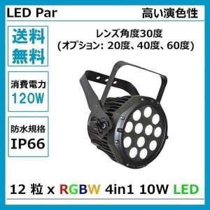 LED ステージライト LEDパー LED舞台照明 4 in 1 LED Par LED数 12粒 x RGBW 4in1 10W LED ダボ付き 消費電力 120W dim4テクノロジー IP66 LP0609|beamtec