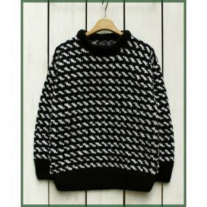ARTESANIA  Hand Knit Crew Neck Sweater Black / アルテサニア ハンドニット クルーネック セーター ブラック|beardstore