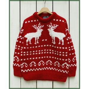 ARTESANIA  Hand Knit Crew Neck Sweater Red / アルテサニア ハンドニット クルーネック セーター レッド|beardstore