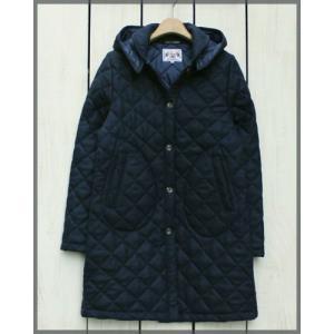 Beaver of Bolton W's Wool Quilting long Jacket with Hood  Navy / ビーバー オブ ボルトン ウィメンズ キルティング ロング フード付ジャケット ネイビー|beardstore