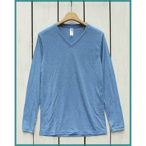 Bella Canvas Triblend V-Neck L/S Tee Blue.M / ベラ キャンバス Vネック 長袖 Tシャツ ブルー.M made in usa|beardstore