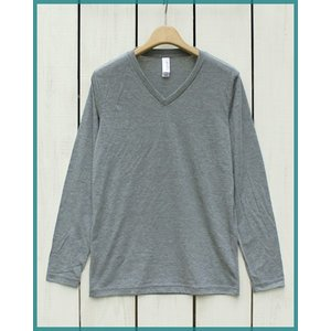 Bella Canvas Triblend V-Neck L/S Tee  Grey.M / ベラ キャンバス Vネック 長袖 Tシャツ グレー.M made in usa|beardstore