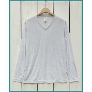 Bella Canvas Triblend V-Neck L/S Tee  White.M / ベラ キャンバス Vネック 長袖 Tシャツ ホワイト.M made in usa|beardstore
