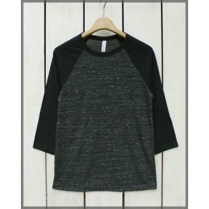 Bella Canvas Triblend Baseball Tee 3/4 sleeve Black.M Black / ベラ キャンバス ベースボール Tシャツ ラグラン 7分袖 ブラック.M ブラック|beardstore