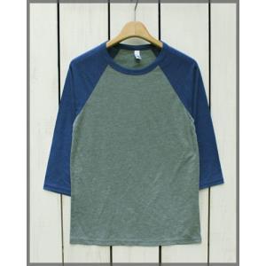 Bella Canvas Triblend Baseball Tee 3/4 sleeve Grey.H Navy / ベラ キャンバス ベースボール Tシャツ ラグラン 7分袖 グレー.H ネイビー|beardstore