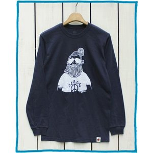 Bony Chops Special Made Pt L/S Tee 「 Peace 」 Navy / ボニーチョップス 別注 長袖 プリントT|beardstore