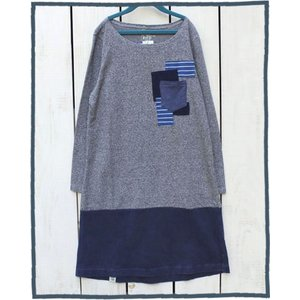 Bony Chops Special Made L/S Patchwork Pocket Boat Neck One Piece Nora / ボニーチョップス 別注 パッチワーク ポケット付 ボートネック 切替 ワンピース|beardstore