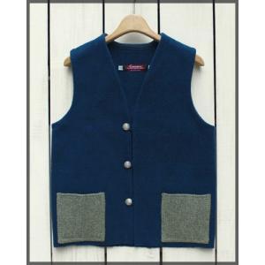 CENTINELA Flat Bottom 2tone Solid Vest / センチネラ フラット ボトム 無地 ベスト インディゴ beardstore