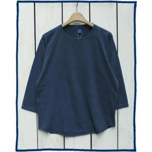 Good On Baseball Tee Navy Pigment Dye / グッドオン ベースボールT 7分袖 ネイビー 紺|beardstore