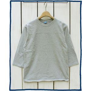 Good On 80s Football Tee Metal Gray washed 3/4 Sleeve / グッドオン エイティーズ フットボール Tシャツ  メタルグレー 杢 7分袖 製品洗い|beardstore