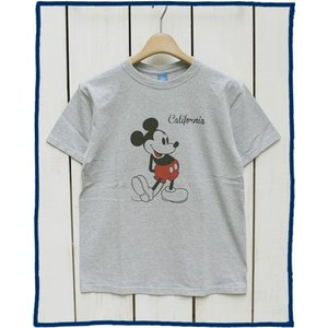 Good On x Disney S/S Print Tee Mickey Metal Grey Washed / グッドオン ディズニー ミッキー Tシャツ 半袖 クルーネック プリント M.グレー 杢 point up|beardstore