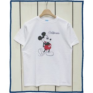 Good On x Disney S/S Print Tee Mickey White Washed / グッドオン ディズニー ミッキー Tシャツ 半袖 クルーネック プリント ホワイト 白 point up|beardstore