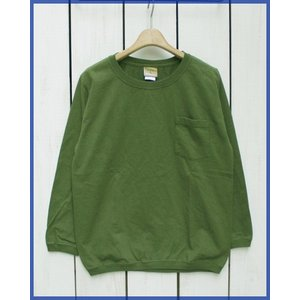 Goodwear Heavy Weight L/S Pocket Rib Tee 7.2oz t-shirts Slim fit Olive Overdye / グッドウェア ヘビーウェイト ポケット リブ 長袖 Tシャツ オリーブ|beardstore