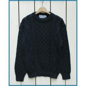ポイント15倍!! Kerry Woollen Mills Aran Cable Knit Crew Neck Sweater Navy / ケリーウーレンミルズ アランニットケーブルクルーネックセーター ネイビー beardstore