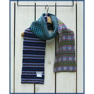 Robert Mackie Multi Fairisle Scarf Blue / ロバートマッキー マルチ フェアアイル スカーフ ブルー|beardstore