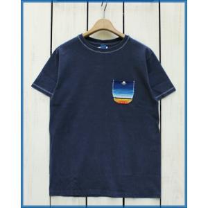 Mucho Bueno Serape Pocket Tee Navy / ムーチョ ブエノ セラペ ポケット Tシャツ ネイビー × マルチ ボーダー|beardstore