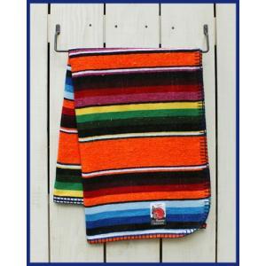 Mucho Bueno Cotton Serape Travel Blanket / Rag Orange Multi 001 / ムーチョ ブエノ コットン セラぺ トラベル ブランケット オレンジ マルチボーダー|beardstore