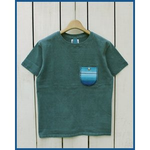 Mucho Bueno Retoro Serape Pocket Tee Slate pigment dye / ムーチョ ブエノ レトロ セラペ ポケット Tシャツ スレート × ブルー ボーダー|beardstore