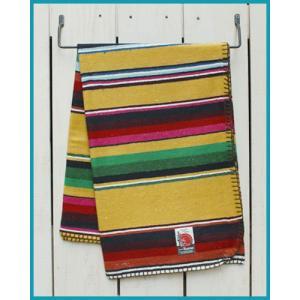 Mucho Bueno Cotton Serape Travel Blanket / Rag Mustard Multi 001 / ムーチョ ブエノ コットン セラぺ トラベル ブランケット マスタード マルチボーダー|beardstore